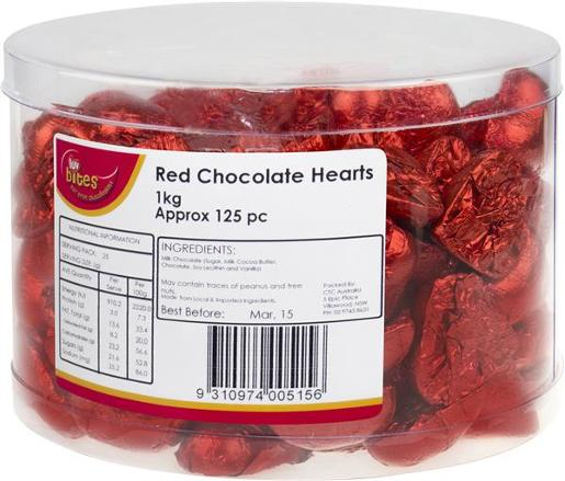 RED CHOCOLATE LUV BITES 1KG
