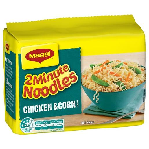 CHICKEN & CORN 2 MINUTE NOODLES 5 PACK 5X74GM
