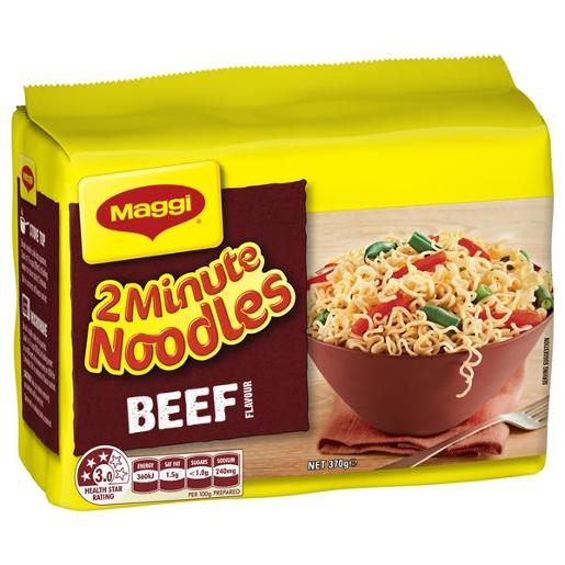BEEF 2 MINUTE NOODLES 5 PACK 74GM