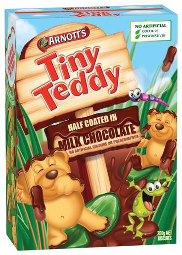 BISCUITS CHOCOLATE TINY TEDDY HALF COAT 200GM