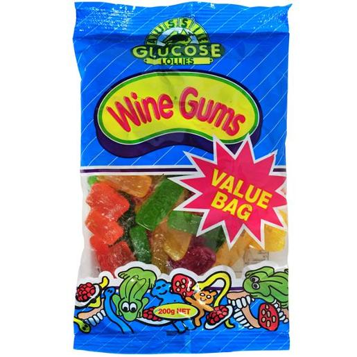 AUSSIE GLUCOSE VALUE BAG WINE GUMS 200GM