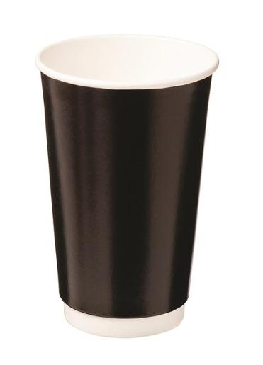 CUPS DOUBLE WALL PAPER HOT BLACK 460ML 25S