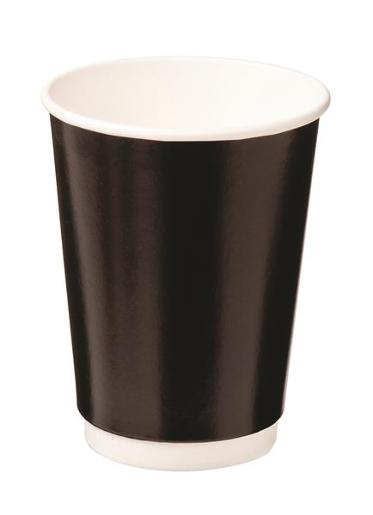 CUPS DOUBLE WALL PAPER HOT BLACK 355ML 25S