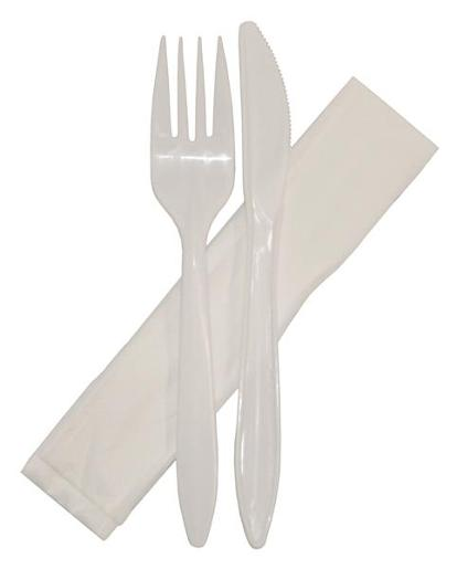 COMBO-PAK PLASTIC CUTLERY KNIFE FORK 1PLY NAPKIN 500S