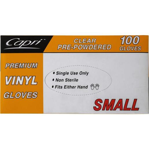 PREMIUM VINYL CLEAR SMALL GLOVES PRE-POWERED 100S