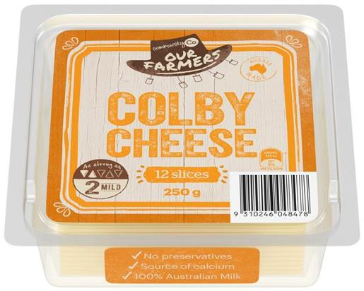 COLBY CHEESE SLICED 250GM