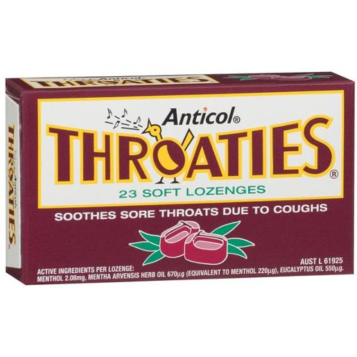 ANTICOL THROATIES MEDICATED THROAT LOZENGES 23S